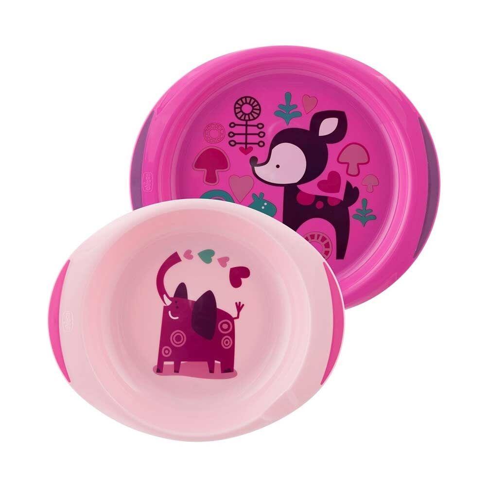 Chicco Baby's Dish Set Piatti Fondo E Piano 12 m+ Colore Rosa 2 Pezzi