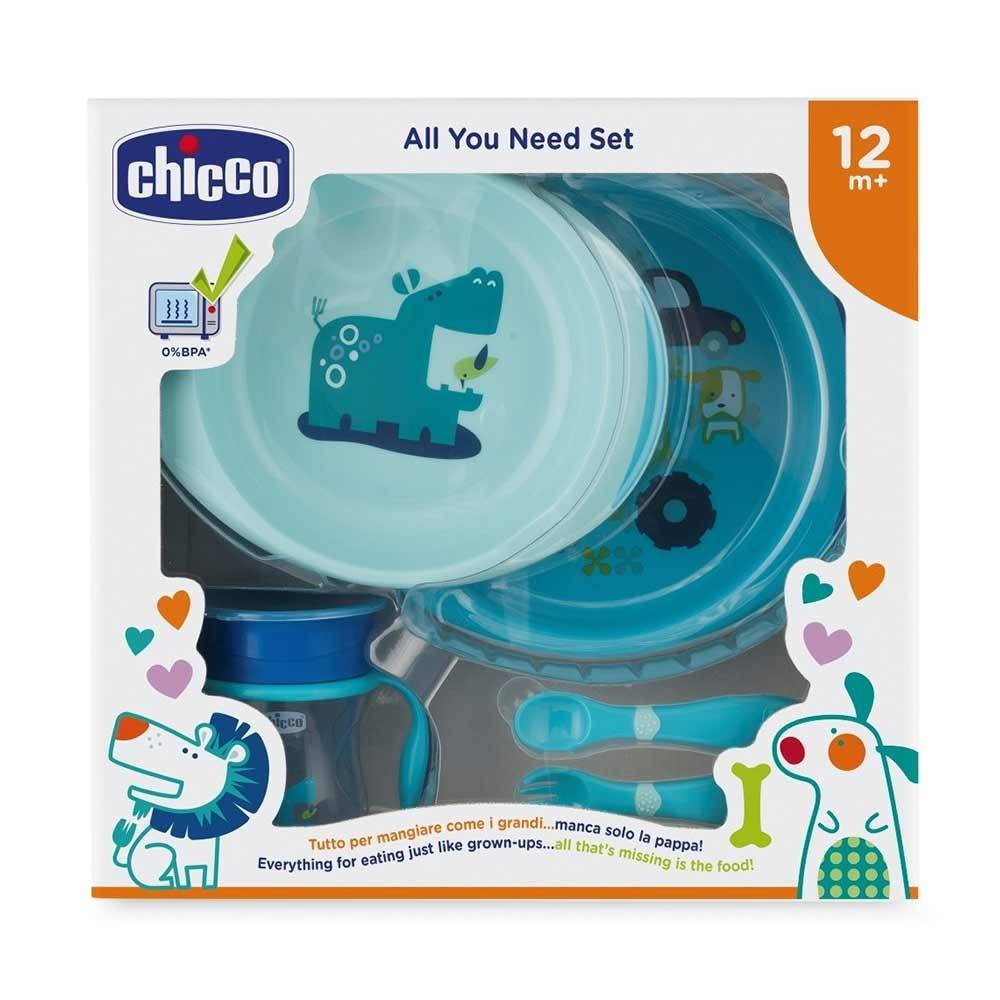 Chicco All You Need Set Pappa 12 m+ Piatti Posatine Bicchiere Colore Azzurro