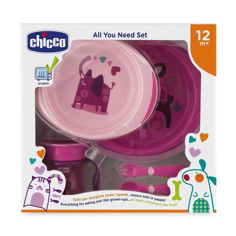 Chicco All You Need Set Pappa 12 m+ Piatti Posatine Bicchiere Colore Rosa
