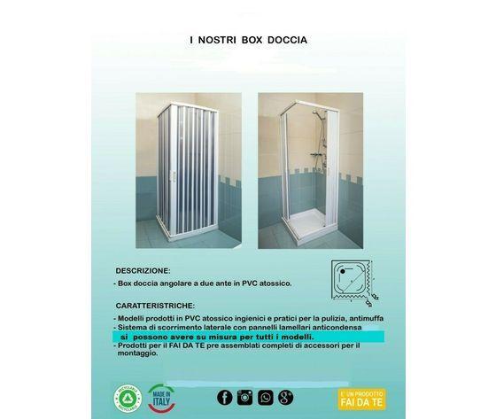 Box Doccia Pvc 2 Ante Apertura Angolare Soffietto Da Cm 80 X Cm 120 Alt 185 Cm