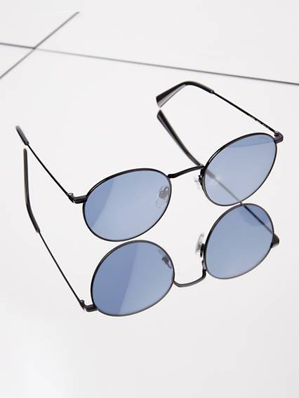 Levis Blue Round Sunglasses Blu / Black Grey