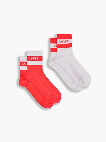 Levis Short Cut Socks 2 Pack Rosso / Neon Red