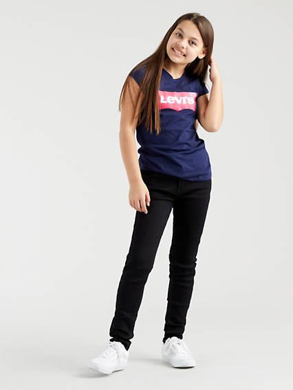 Levis Teenager 710 Super Skinny Jeans Nero / Rinsed Black