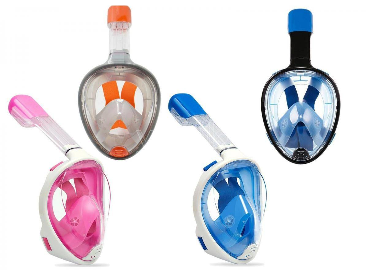 maschera mare viso intero con boccaglio per bambini, misura s/m multicolore