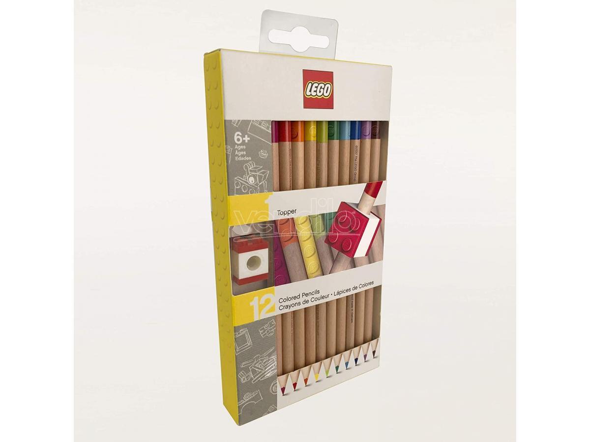 joy toy lego set di 12 matite colorate con topper joytoy