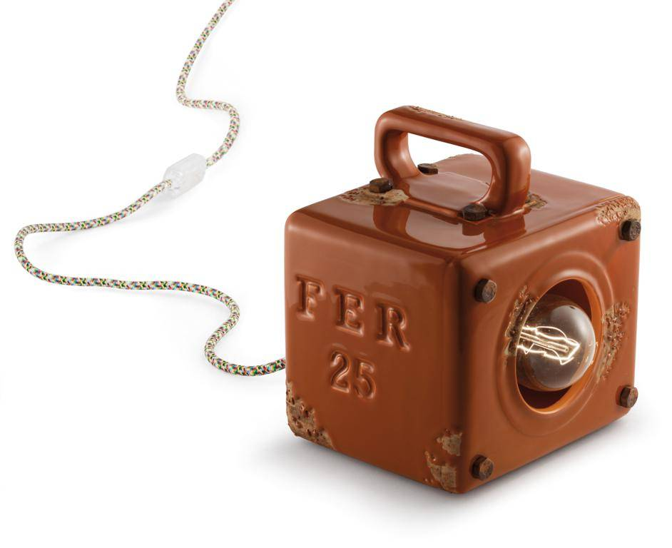 Ferroluce Lampada Da Tavolo Industrial Vintage Arancio C1650vio