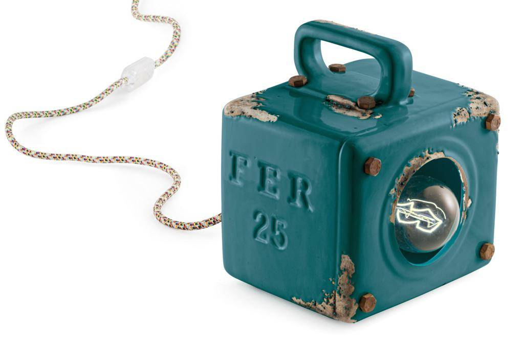 Ferroluce Lampada Da Tavolo Industrial Vintage Verde C1650viv