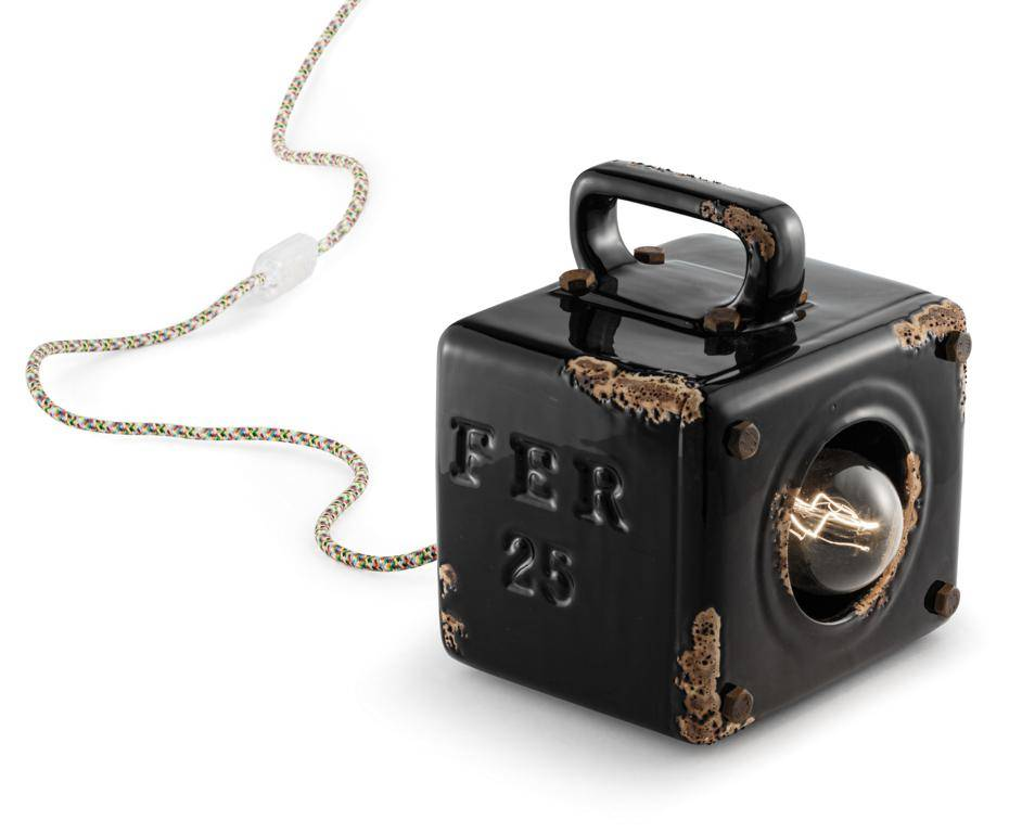 Ferroluce Lampada Da Tavolo Industrial Vintage Nero C1650vin