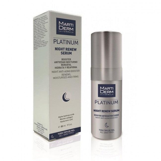 martiderm night renew siero viso notte rigenerante con acido ialuronico da 30ml per tutti i tipi di pelle, martiderm
