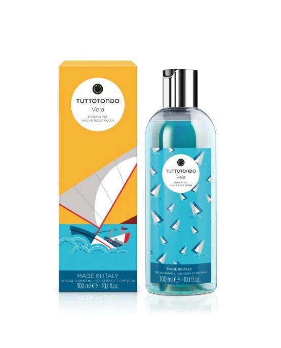 Tuttotondo Vela Doccia Shampoo Idratante da 300ml per Tutti i Tipi di Pelle e Capelli, Tuttotondo