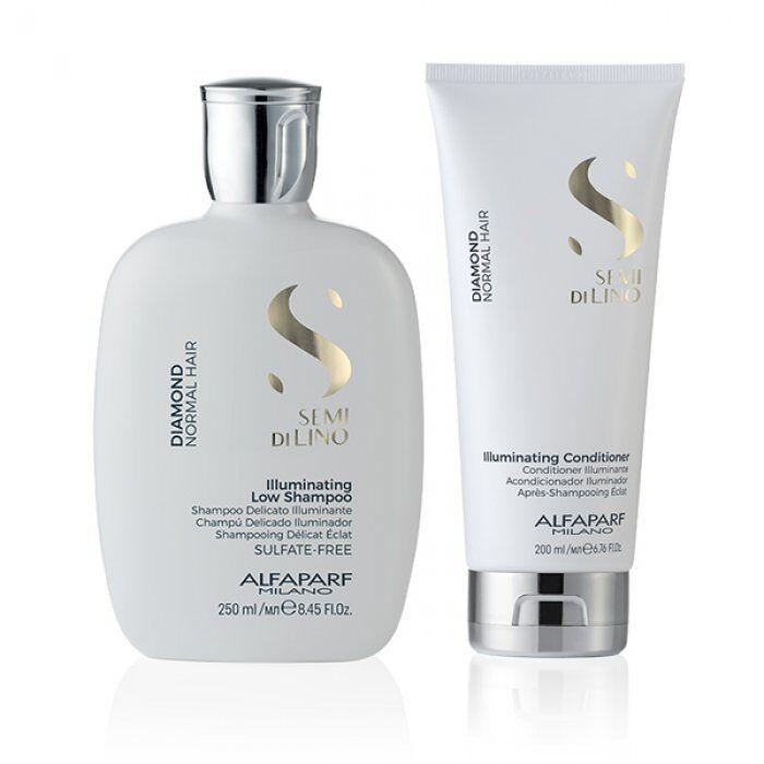 alfaparf kit  - semi di lino diamond shampoo e conditioner