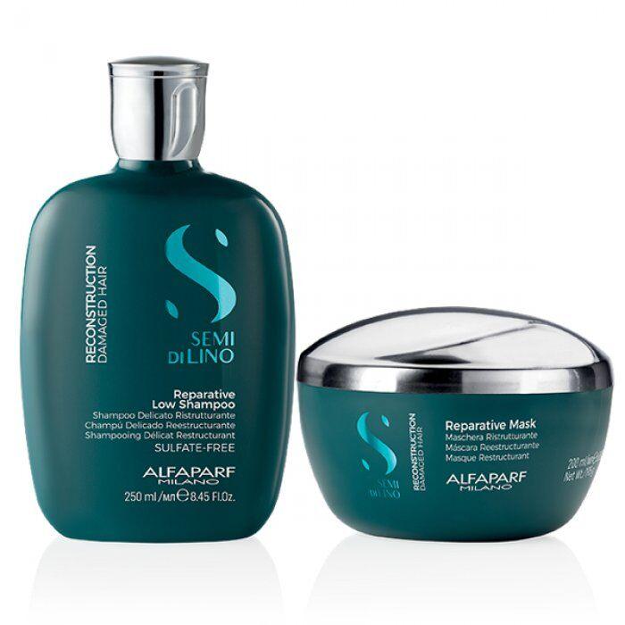 alfaparf kit  - semi di lino reconstruction shampoo e mask