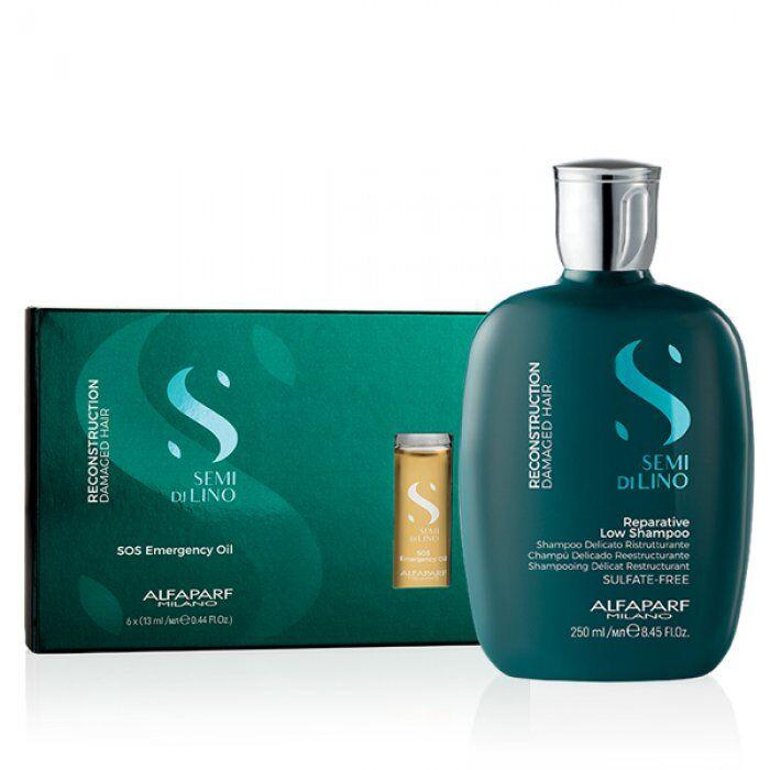 alfaparf kit  - semi di lino reconstruction shampoo e sos oil