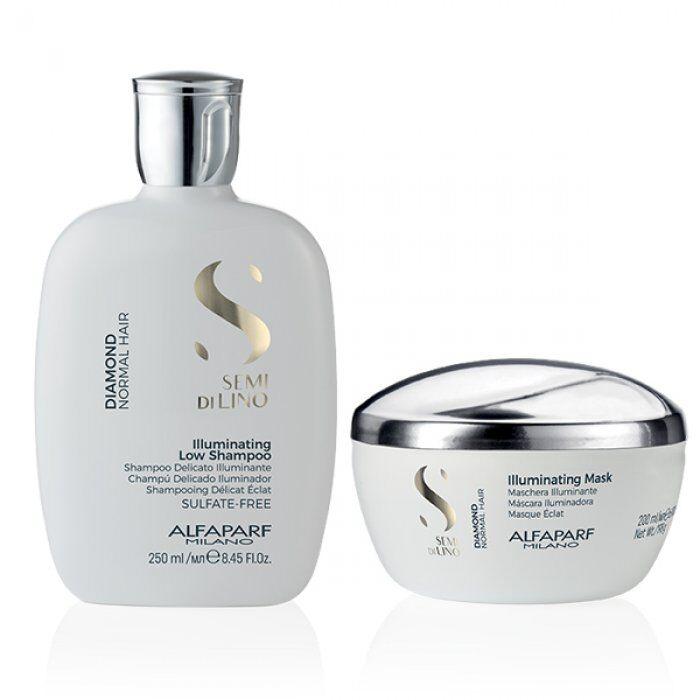 alfaparf kit  - semi di lino diamond shampoo e mask