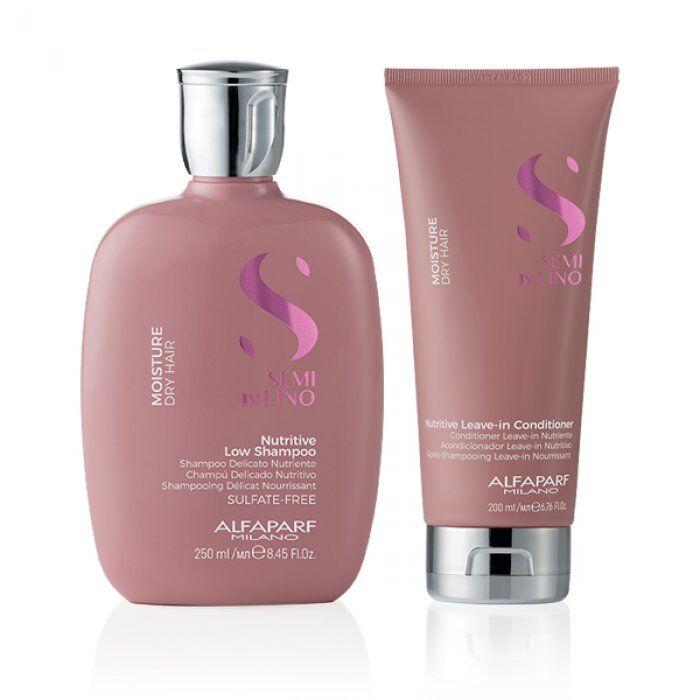 alfaparf kit  - semi di lino moisture shampoo e leave-in conditioner