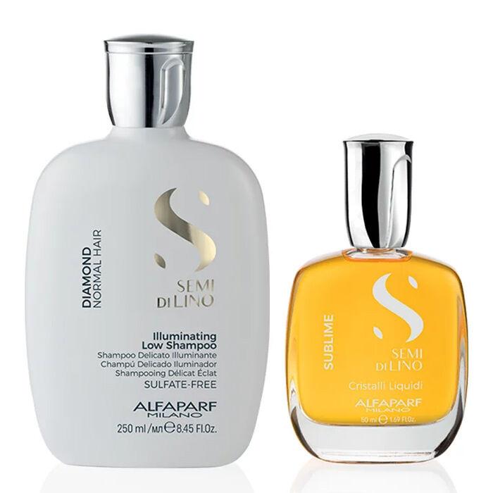 alfaparf kit  - semi di lino diamond shampoo e cristalli liquidi 30 ml