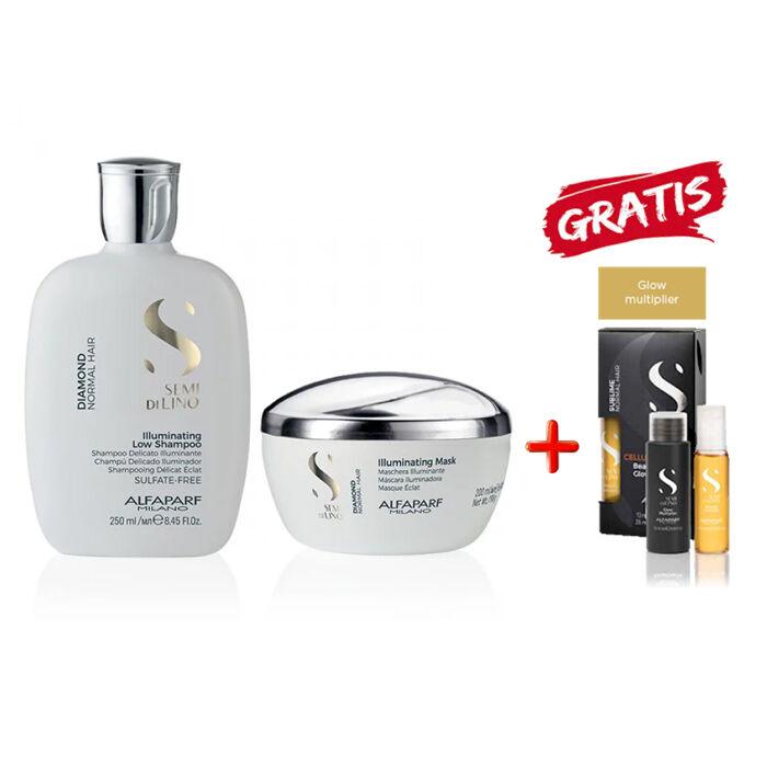 alfaparf kit  - semi di lino diamond shampoo-mask e cellula madre glow multiplier kit omaggio