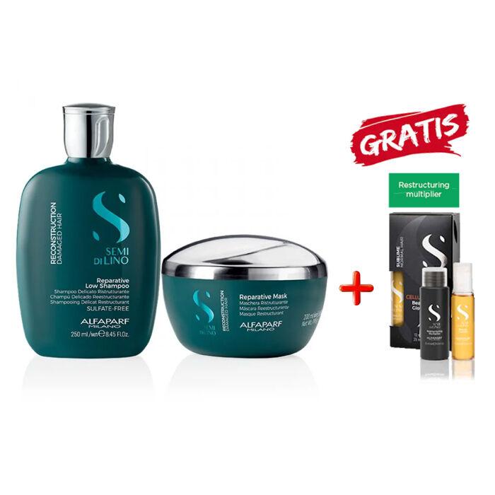 alfaparf kit  - semi di lino reconstruction shampoo-mask e cellula madre restructuring multiplier kit omaggio