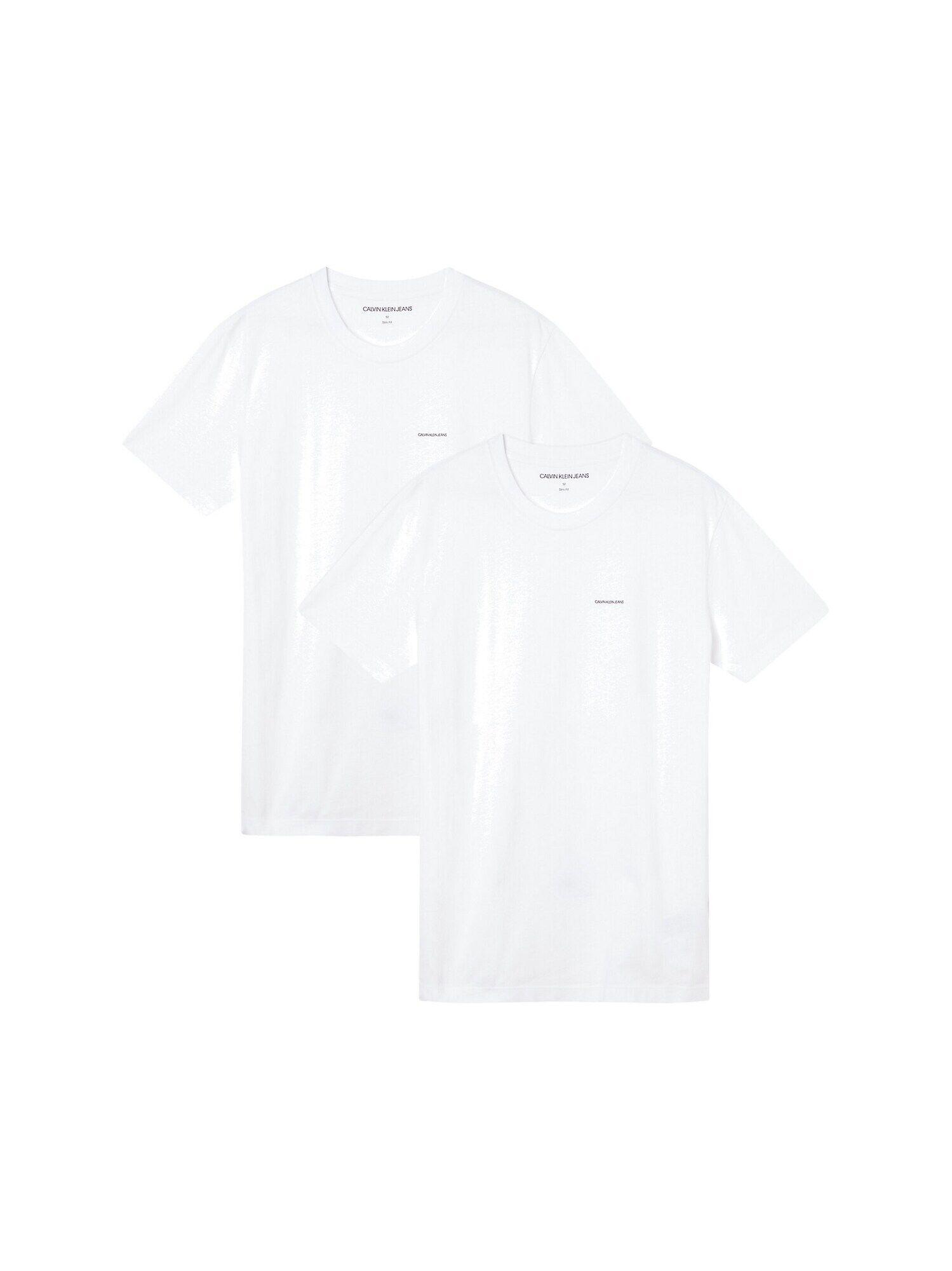 calvin klein jeans maglietta '2 pack tee institutional logo' bianco