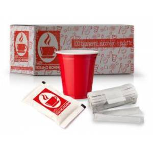 Caffè Bonini 1 confezione Kit Bicchierino Paletta E Zucchero per Accessori