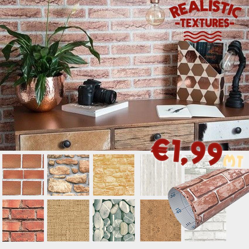 eternal parquet pelicola di plastica adesiva effetto mattoni, sughero, legno, pietre 1mt x 45cm - 06 mattoncino