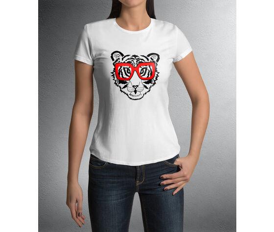 tigre occhiali rossi cuore - bianca