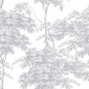 Carta da parati Foresta metal argento, 53 cm x 10 m