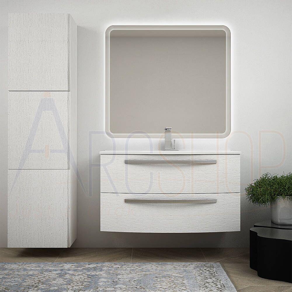 BH Mobile bagno bianco frassino sospeso moderno 100 cm con lavabo ceramica specchio retroilluminato e colonna Mod. Berlino