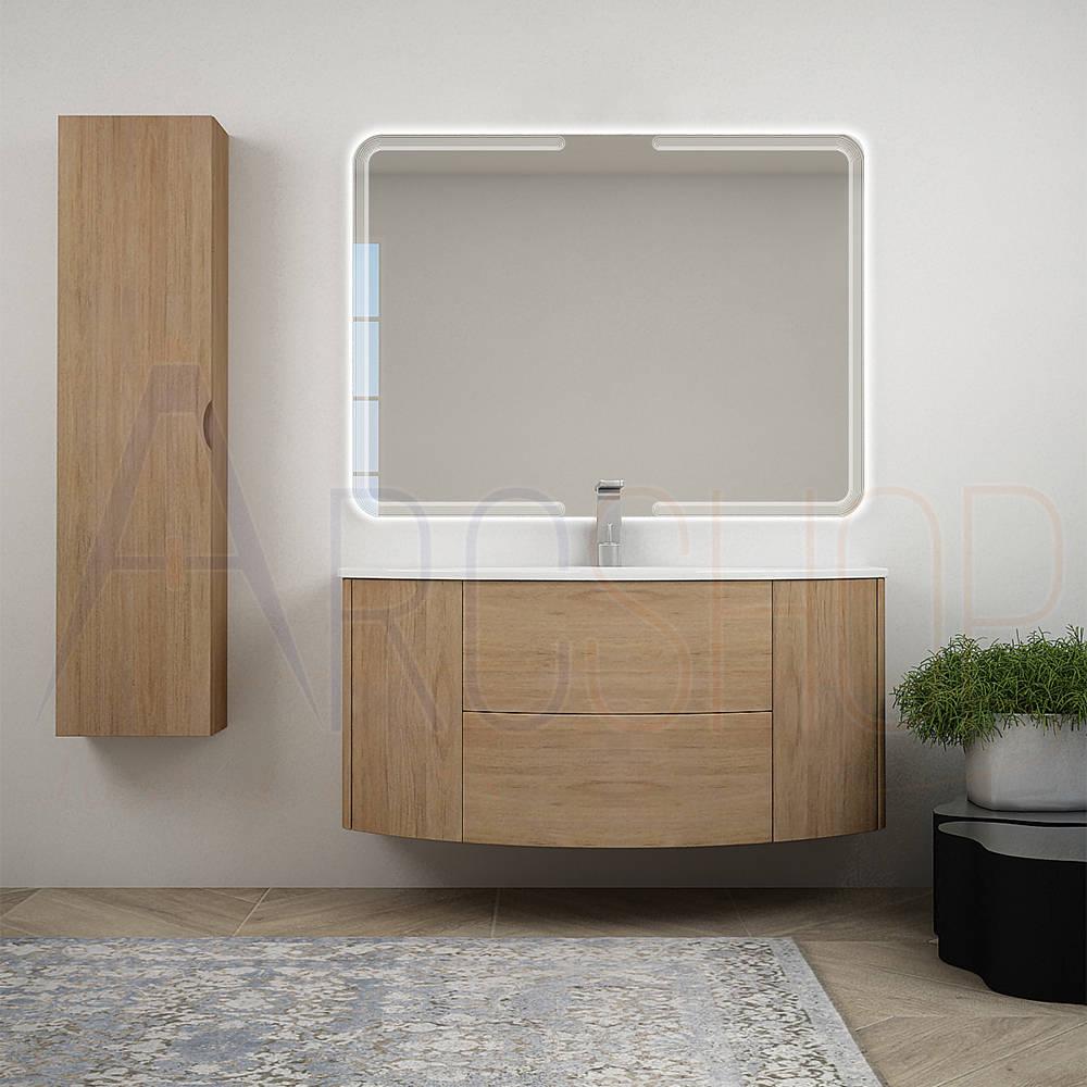 BH Mobile da bagno sospeso rovere tabacco 120 cm con specchiera retroilluminato LED cassettoni soft close e colonna