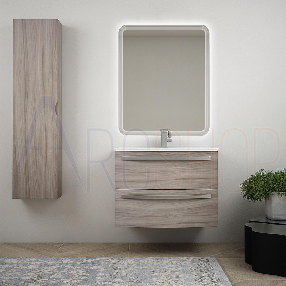 BH Moderno mobile bagno sospeso curvo 75 cm larice lavabo ceramica specchio LED e colonna 140 cm Mod. Berlino