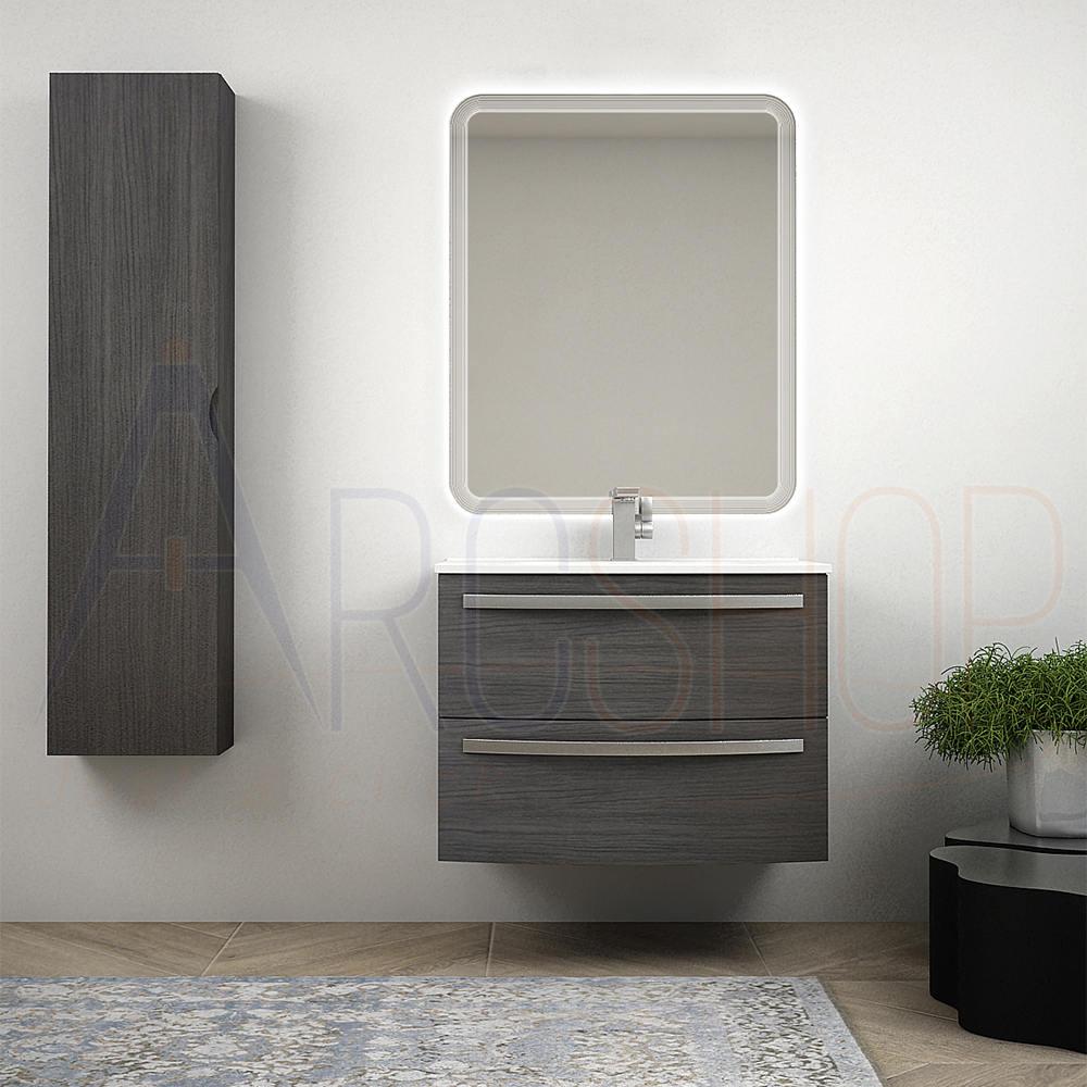 BH Mobile bagno sospeso curvo moderno da 75 cm grigio scuro venato con specchio LED lavabo ceramica e colonna da 140 cm Mod. Berlino