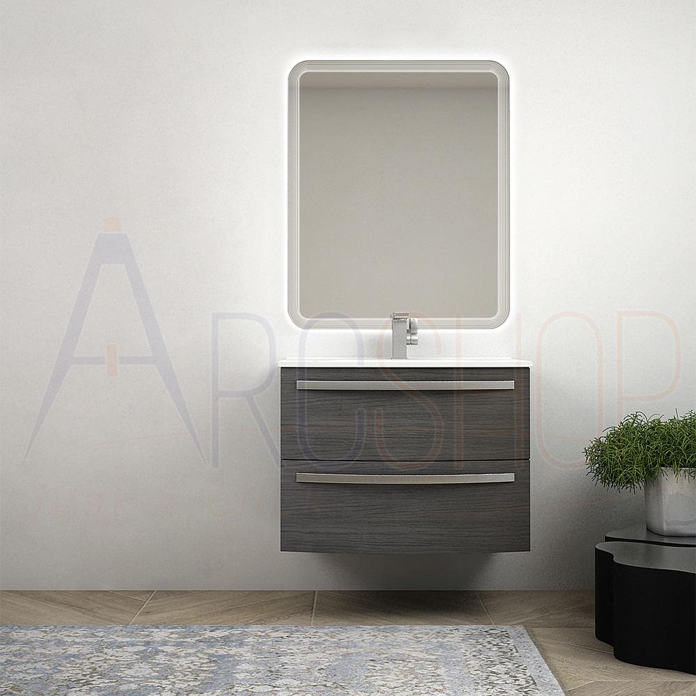 BH Mobile bagno sospeso moderno 75 cm a cassettoni curvi grigio scuro venato con specchio LED e lavabo ceramica Mod. Berlino