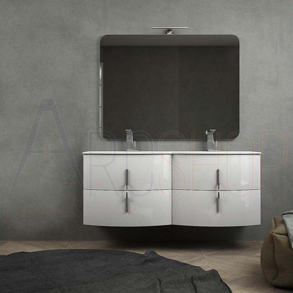 BH Mobile bagno doppio lavabo bianco lucido sospeso 140 cm con chiusure soft close e specchio applique LED