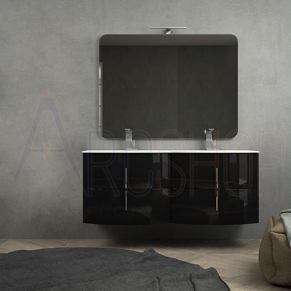 BH Mobile bagno nero lucido 140 cm sospeso moderno con doppio lavabo chiusure soft close specchio e lampada LED