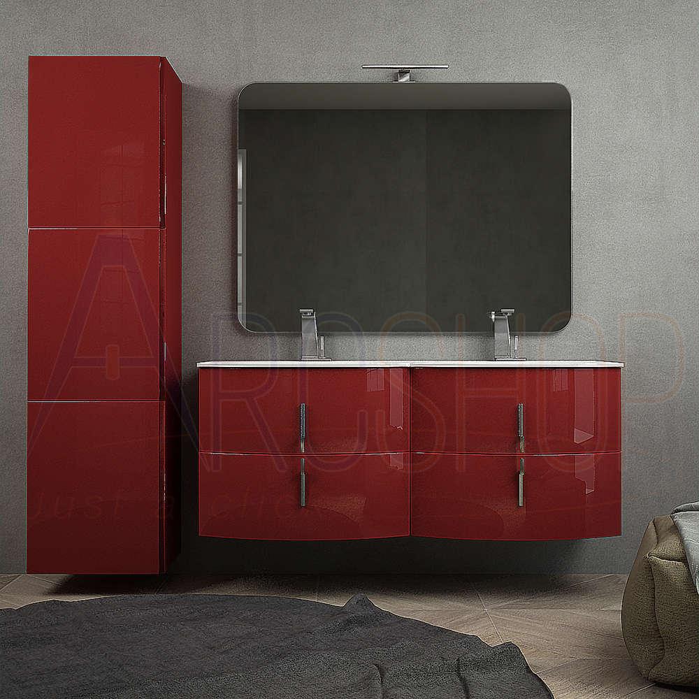 BH Mobile bagno sospeso rosso lucido 140 cm doppio lavabo con chiusure soft close colonna 170 cm tre ante specchio e lampada LED