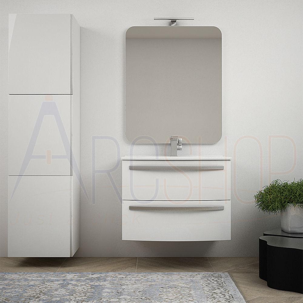 BH Mobile bagno bianco lucido sospeso 75 cm curvo con colonna 170 cm specchio e lavabo in ceramica Mod. Berlino
