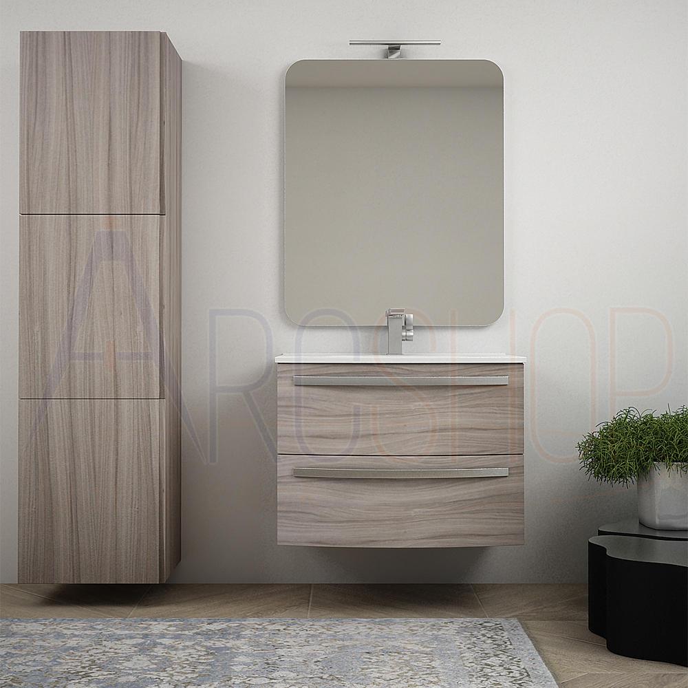 BH Mobile bagno a cassettoni curvo sospeso 75 cm larice lavabo in ceramica specchio e colonna 170 cm Serie Berlino