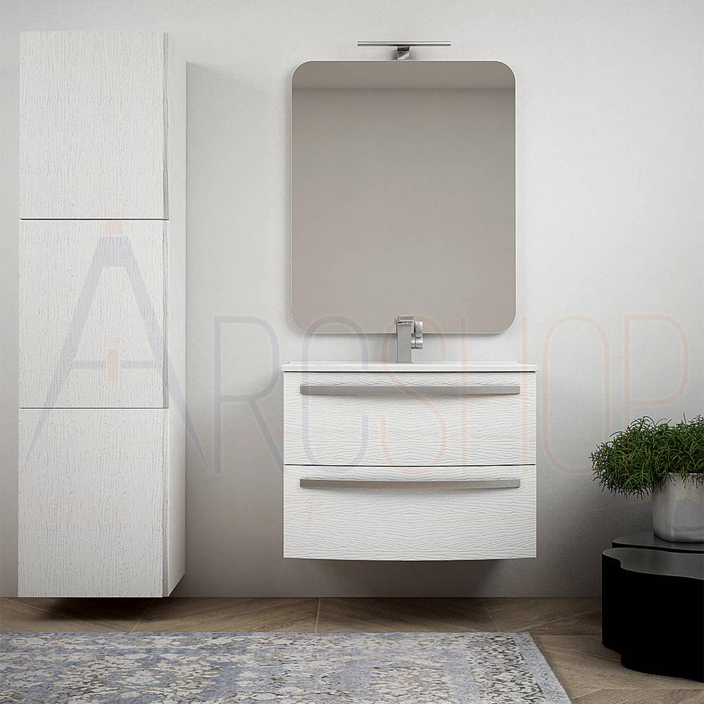 BH Mobile bagno sospeso moderno curvo bianco frassino 75 cm con specchio lavabo di ceramica e colonna da 170 cm Mod. Berlino