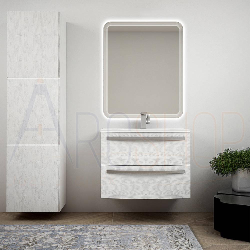 BH Mobile bagno bianco frassino sospeso 75 cm a cassettoni curvi colonna 170 cm specchio LED e lavabo ceramica Mod. Berlino