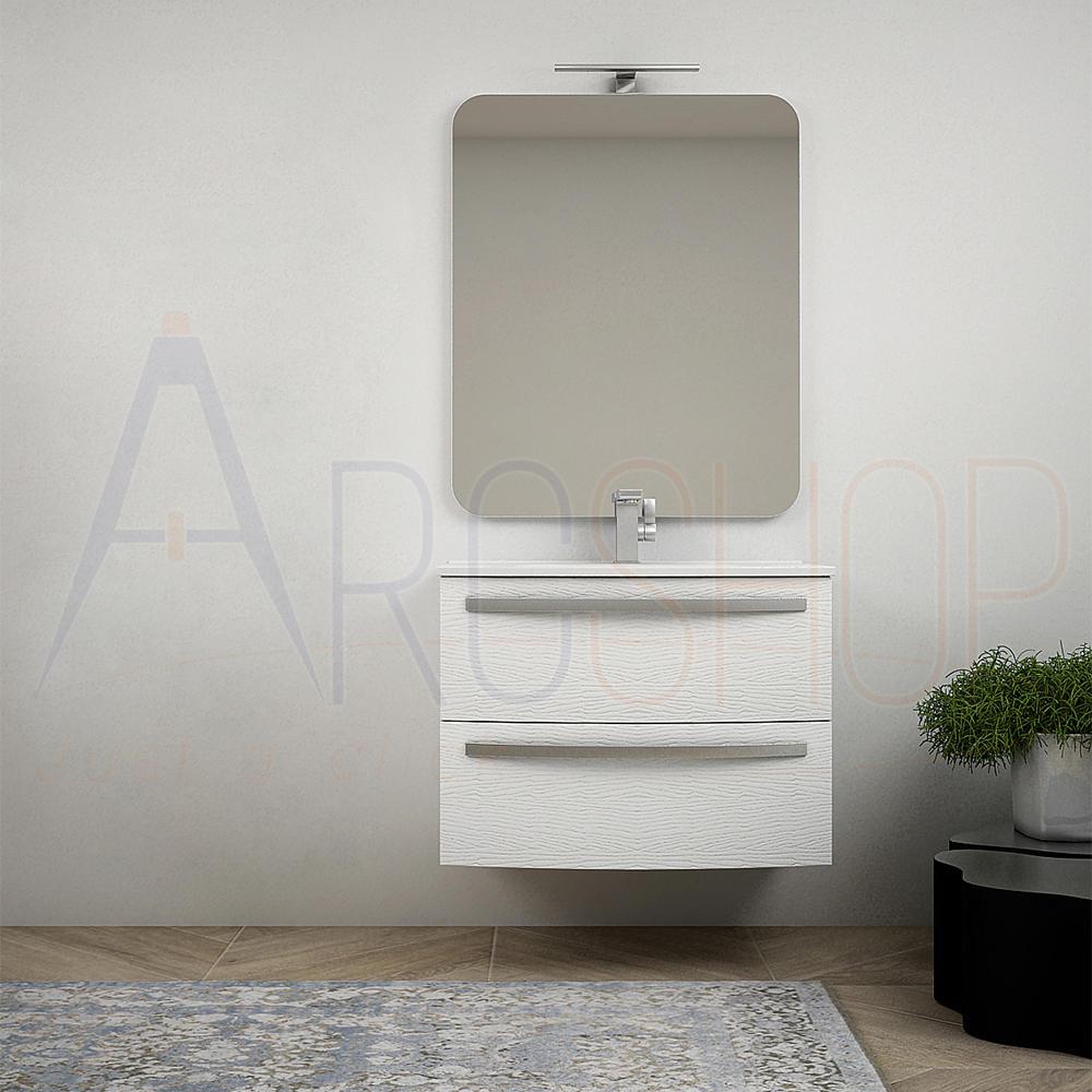 BH Mobile bagno sospeso moderno da 75 cm curvo bianco frassino con specchio e lavabo di ceramica Mod. Berlino