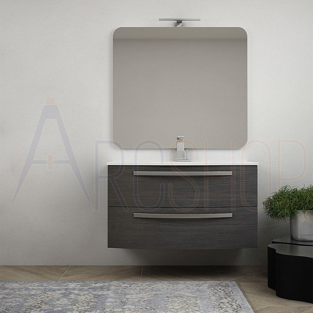 BH Mobile bagno curvo sospeso 100 cm grigio scuro venato con specchio e lavabo in ceramica Mod. Berlino