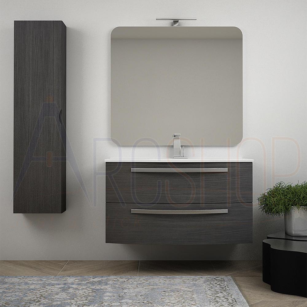 BH Mobile bagno curvo sospeso 100 cm grigio scuro venato con specchio lavabo ceramica e colonna Mod. Berlino