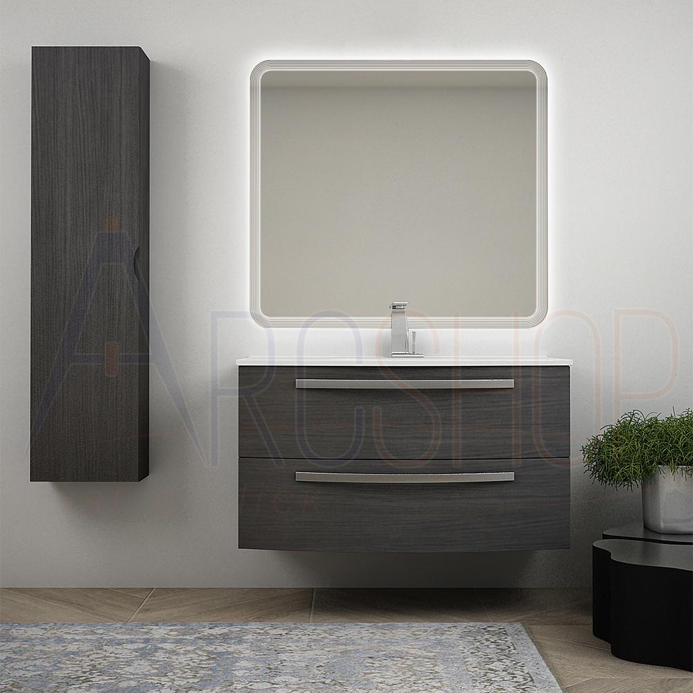 BH Mobile bagno sospeso 100 cm grigio scuro venato con colonna lavabo in ceramica e specchio retroilluminato Mod. Berlino