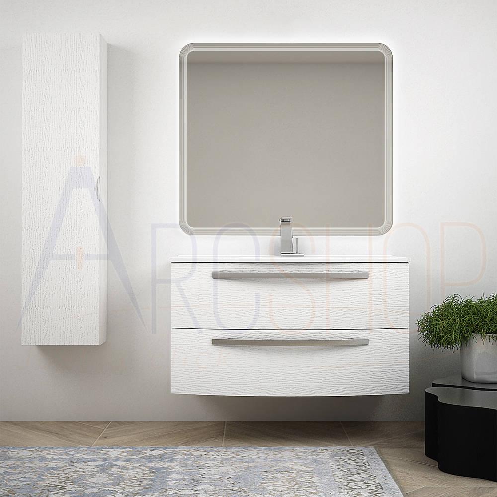 BH Mobile bagno sospeso bombato bianco frassino 100 cm con colonna specchio LED e lavabo in ceramica Mod. Berlino