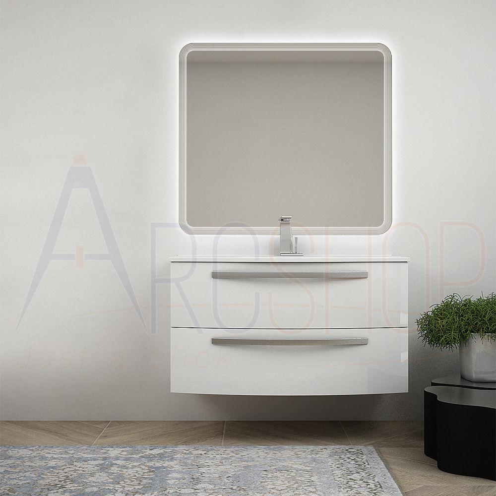 BH Mobile bagno bianco lucido sospeso 100 cm specchio retroilluminato LED e lavabo in ceramica Mod. Berlino