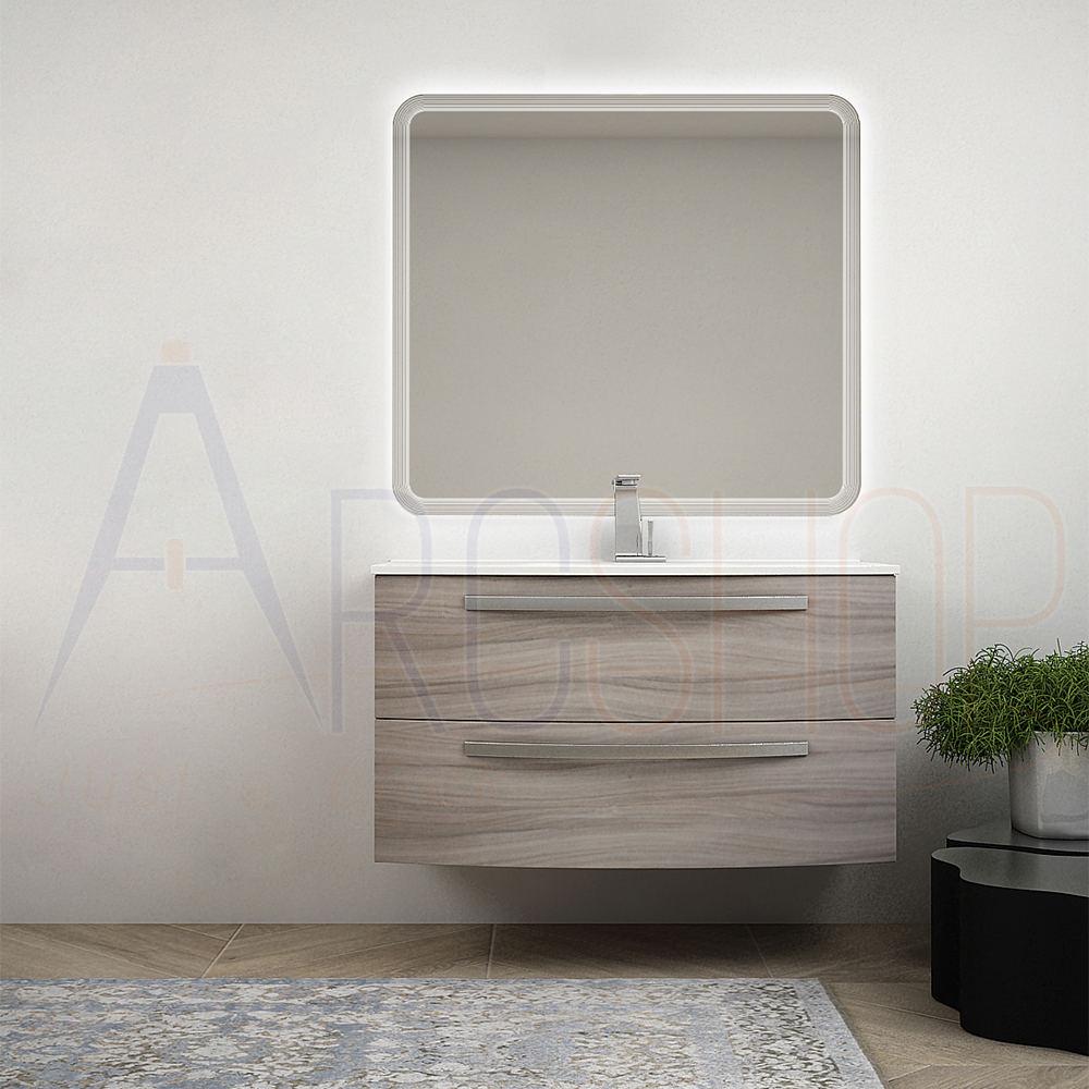 BH Mobile bagno sospeso moderno 100 cm larice con lavabo ceramica specchio retroilluminato Mod. Berlino