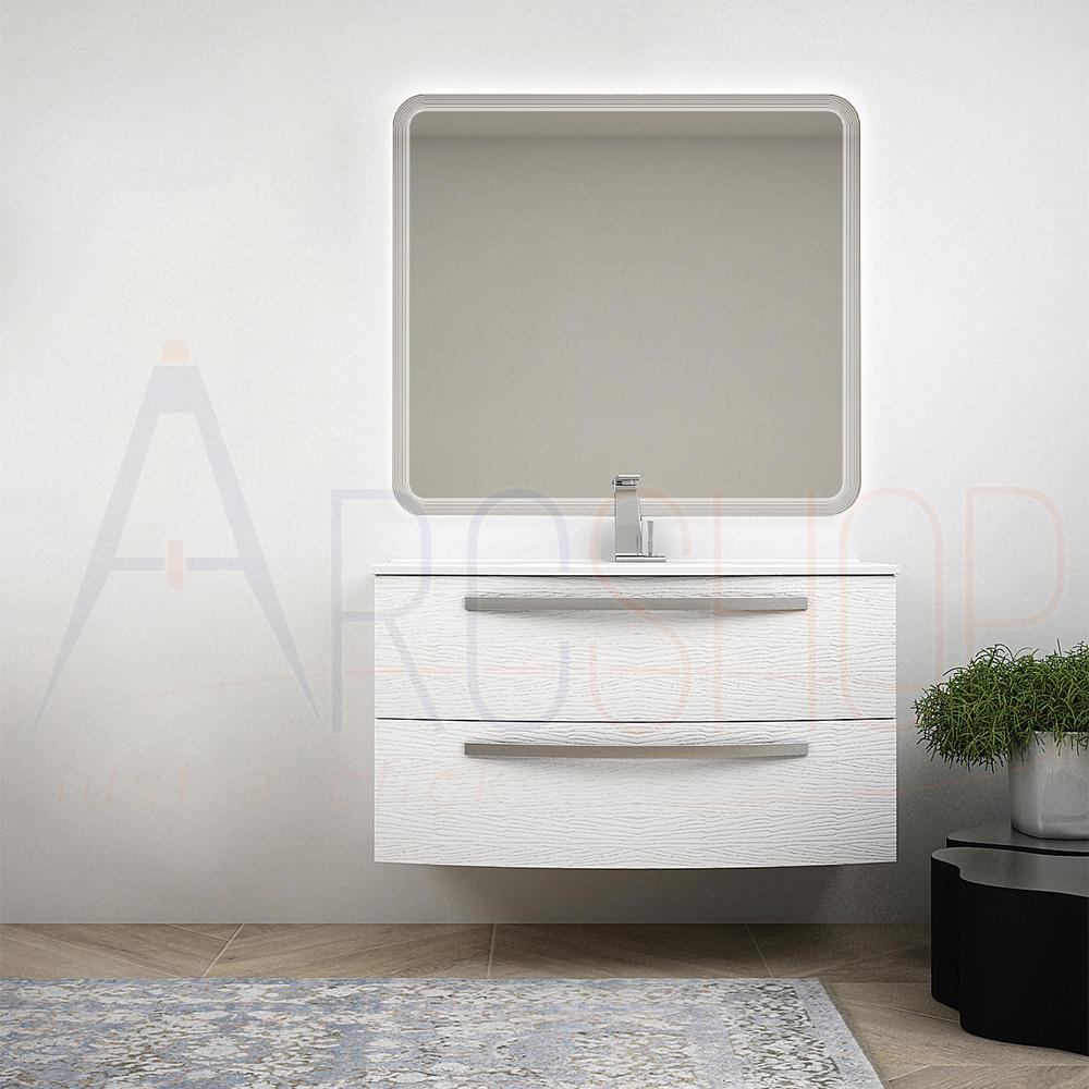 BH Mobile bagno 100 cm sospeso bianco frassino con lavabo in ceramica e specchio retroilluminato Mod. Berlino