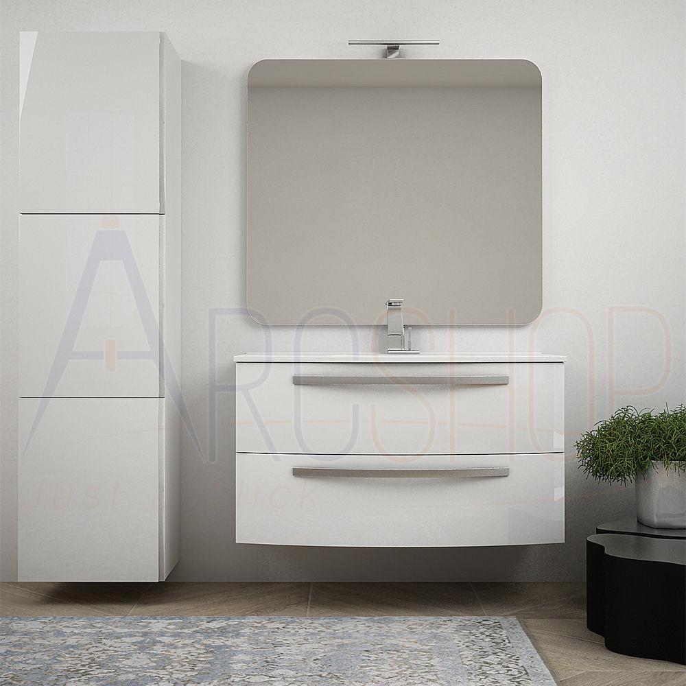BH Mobile bagno bianco lucido 100 cm sospeso moderno curvo con lavabo ceramica specchio e colonna 170 cm Mod. Berlino