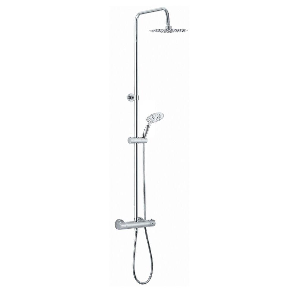 Mel Colonna doccia tonda in acciaio regolabile con miscelatore termostatico doccetta 3 getti e soffione ultraslim 20 cm