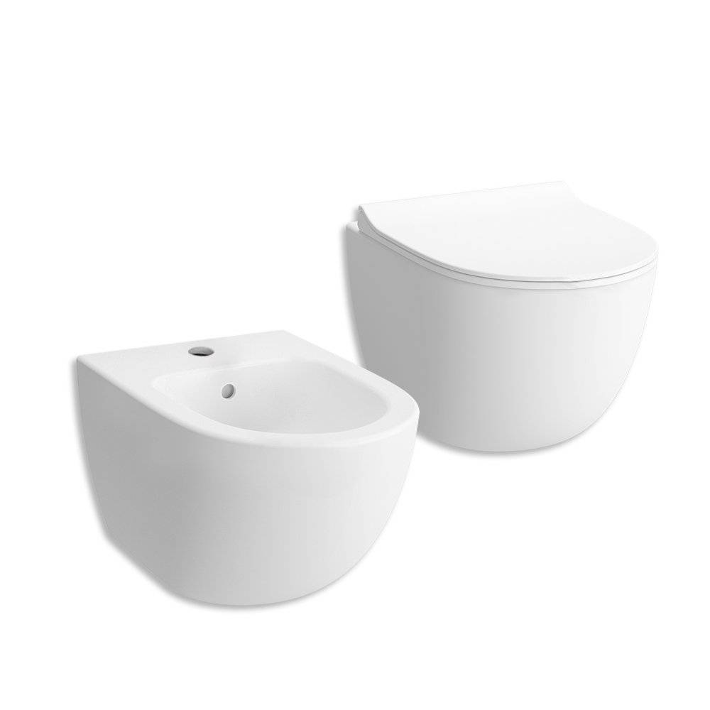 VITRA Sanitari wc e bidet sospesi serie Sento rimless bianco opaco ceramica bianca